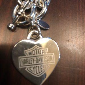 Harley Davidson Etched Toggle Silver Necklace